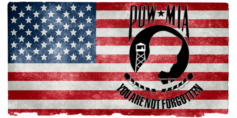 american flag with pow/mia image overlay